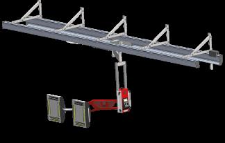 Promienniki lakiernicze w układzie szynowym w kabinie lakierniczej