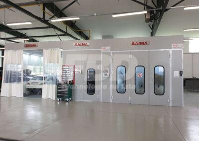 Kabina lakiernicza SAIMA, strefa przygotowawcza, Boks lakierniczy dla serwisu Mercedes Benz