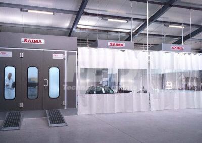 Kabina lakiernicza najazdowa SAIMA i strefy przygotowawcze