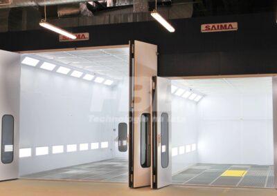 Kabiny lakiernicze Warszawa otwarte, z podnośnikiem nożycowym