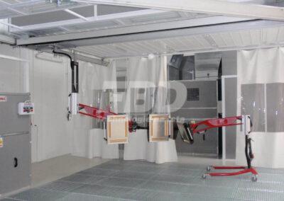 Promienniki lakiernicze w strefy przygotowawcze, układ szynowy i mobilny promiennik