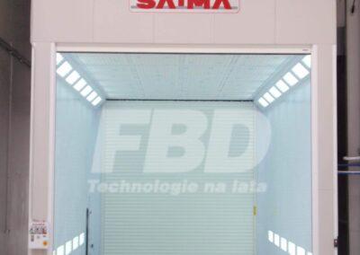 Przemysłowa kabina lakiernicza SAIMA, brama otwarta