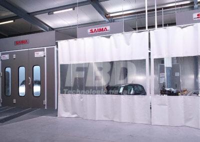 Wyposażenie lakierni kabina lakiernicza i strefy przygotowawcze SAIMA