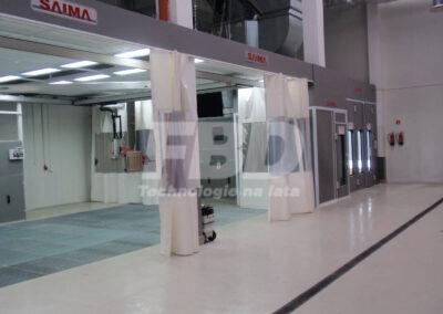 Wyposażenie lakierni, kabina lakiernicza, strefy przygotowawcze SAIMA, boks lakierniczy, system szynowy z promiennikami