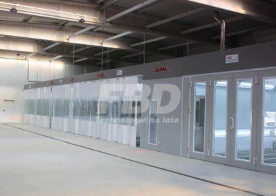 Wyposażenie lakierni przemysłowej, kabina lakiernicza SAIMA, pomieszczenie mieszalni lakierów, strefy przygotowawcze