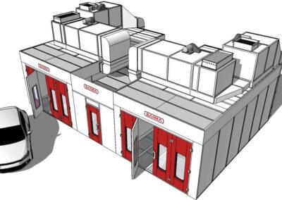 Wizualizacja kabin lakierniczo suszących