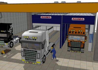 Wizualizacja wyposażenia lakierni dla pojazdów ciężarowych