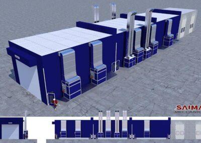Wizualizacja wyposażenia lakierni dla pojazdów wielkogabarytowych