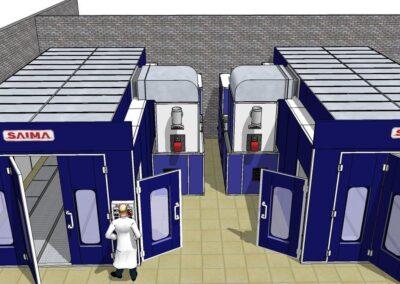 Wyposażenie lakierni dla przemysłu wizualizacja