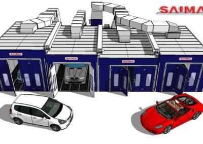 Wyposażenie lakierni samochodowej wizualizacja